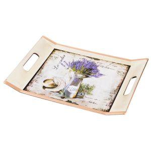 Купить Поднос Арти М 106-504 с ручками Старинный прованс 37,5*27 см цвет белый/лаванда/золото