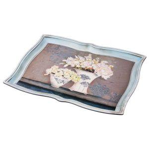 Купить Поднос Арти М 106-509 Старинный прованс 42*30 см цвет голубой/розовый
