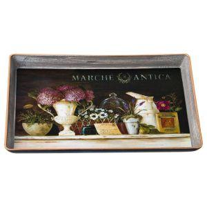 Купить Поднос Арти М 106-540 Старинный прованс 27*19 см цвет серый/розовый