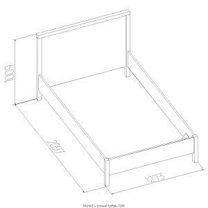 Купить Кровать ГМФ К5 90*200 без основания Bauhaus цвет бодега светлый