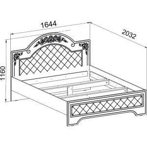 Купить Кровать Компасс CO-322К+СО-322 без ламелей и опор Соня цвет белый структурный/ясень патина