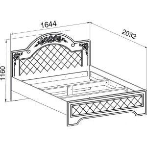 Купить Кровать Компасс CO-323К+СО-323 без ламелей и опор Соня цвет белый структурный/ясень патина