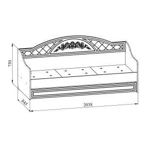 Купить Кровать Компасс СО-25К+СО-253 Соня цвет белый структурный/ясень патина