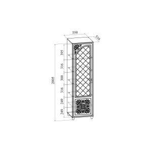 Купить Пенал Компасс СО-13К+СО-134 левый со стеклом Соня цвет белый структурный/ясень патина