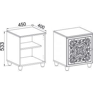 Купить Тумба прикроватная Компасс СО-15К+СО-153 Соня цвет белый структурный/ясень патина