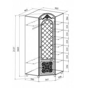 Купить Шкаф угловой Компасс CO-33К+СО-333 Соня цвет белый структурный/белое дерево
