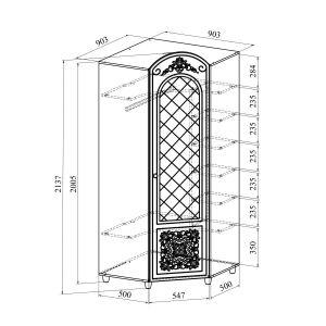Купить Шкаф угловой Компасс CO-33К+СО-333 Соня цвет белый структурный/ясень патина