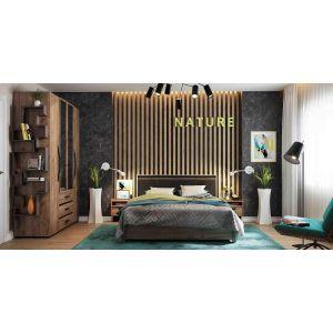 Купить Кровать ГМФ К307 Люкс 160*200 с подъемным механизмом Nature цвет дуб табачный craft/черный