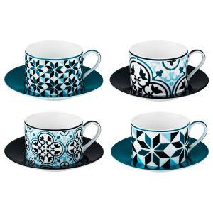 Купить Чайный набор Арти М 86-2265 на 4 персоны (8 предметов) 180 мл цвет бирюзовый