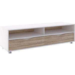 Купить Тумба под телевизор Комфорт-S Валеска-5 цвет белая лиственница/дуб баррик