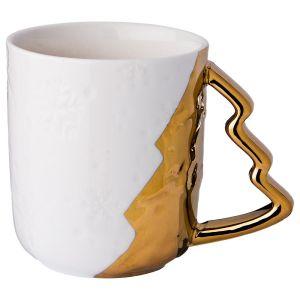 Купить Кружка Арти М 151-138 с ручкой-елочкой 380 мл цвет белый/золотой