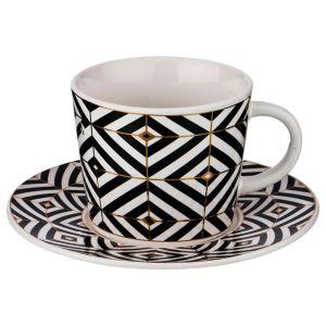 Купить Чайный набор Арти М 155-262 на 6 персон (12 предметов) на подставке Black&White 220 мл цвет чёрный/белый