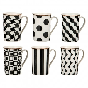 Купить Чайный набор Арти М 779-130 (6шт.) Vogue Черно-белое 300 мл цвет чёрный/белый