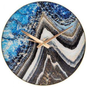Купить Настенные часы Арти М 108-128 Турмалин 36,7*36,7*5,5 см цвет синий/серый/золото