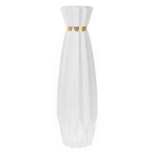 Купить Ваза РЕМЕКО 714561 16*16*60 см цвет белый/золотой