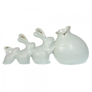Купить Ваза РЕМЕКО 714600 Кролики 36*9*16 см цвет белый/серебро