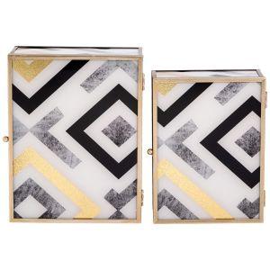 Купить Набор шкатулок Арти М 108-149 (2 шт.) Модерн цвет серый/золото