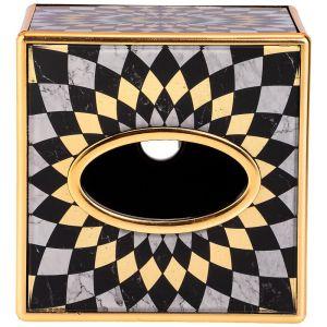 Купить Шкатулка Арти М 108-155 для салфеток Модерн 13,5*13,5*13,5 см цвет серый/золото