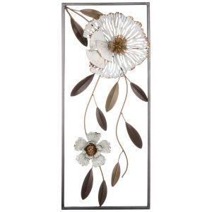 Купить Панно Арти М 680-100 Цветочная симфония 24,8*61*4,4 см цвет белый/бежевый/золото