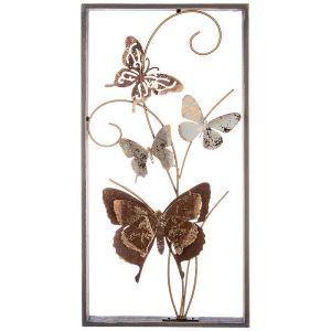 Купить Панно Арти М 680-126 Бабочки 29,8*59,7*5,1 см цвет коричневый/золото