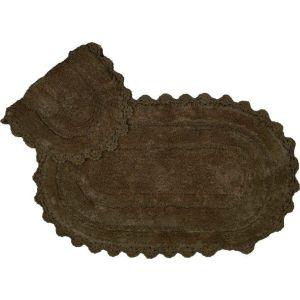 Купить Коврик АРИЯ Afro с гипюром 60*100 (2 предмета) цвет тёмно-коричневый
