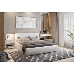 Купить Кровать Мебельсон Куба 160*200 с подъемным механизмом цвет белый/экокожа