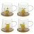 Кружка РЕМЕКО 748182 на деревянной подставке 300 мл 9,5*12*14 см (4 варианта) цвет прозрачный/жёлтый/дерево прозрачный/жёлтый/дерево