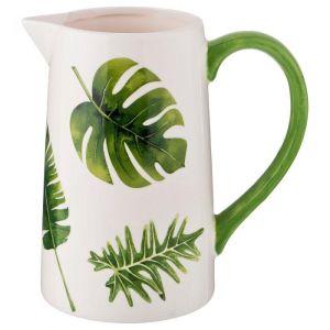 Купить Кувшин Арти М 230-229 Тропики 1500 мл 19,1*12*19,3 см цвет белый/зелёный