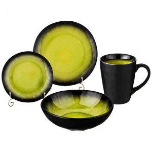 Купить Столовый набор Арти М 577-143  Glam (16 предметов) цвет оливковый/чёрный