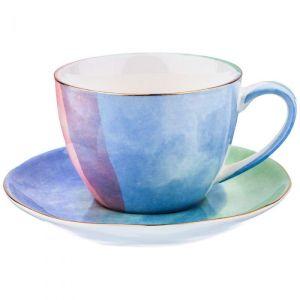 Купить Чайный набор Арти М 189-216 Парадиз на 6 персон (12 предметов) 300 мл цвет голубой/розоавй/зелёный