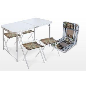 Купить Комплект мебели Ника ССТ-К2 (стол + 4 стула) цвет серый металл