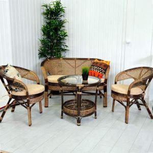 Купить Комплект мебели из натурального ротанга ЭкоДизайн 02/15 Б Пеланге (диван + 2 кресла + стол)
