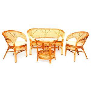 Купить Комплект мебели из натурального ротанга ЭкоДизайн 02/15 К Пеланге (диван + 2 кресла + стол)