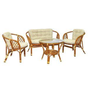 Купить Комплект мебели из натурального ротанга ЭкоДизайн 03/10 К Багама (диван + 2 кресла + стол)