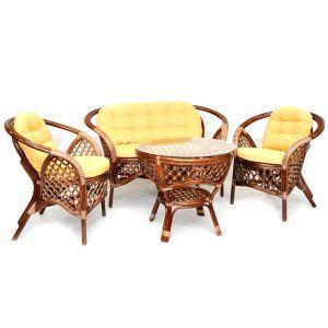 Купить Комплект мебели из натурального ротанга ЭкоДизайн 1305 Б Melang (диван + 2 кресла + стол)