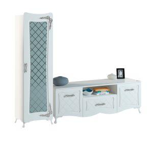 Купить Гостиная АСМ-Модуль Аделина цвет белый глянец/серебро