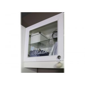 Купить Полка навесная Мебельсон П1 Гламур цвет белый/белый глянец