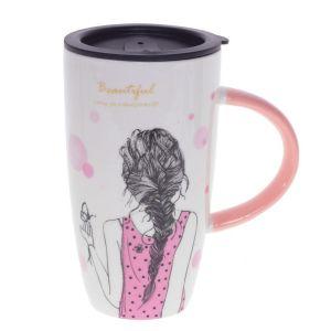 Купить Кружка РЕМЕКО 751179 с крышкой 13*9*15,5 см (3 варианта) цвет белый/розовый