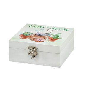 Купить Шкатулка Русские подарки 138706 14*15*6 см цвет белый/зелёный