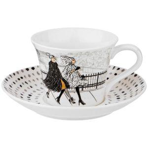 Купить Чайный набор Арти М 359-580 на 1 персону (2 предмета) Fashion queen цвет белый/серый/чёрный