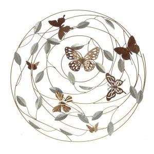 Купить Панно РЕМЕКО 714614 Бабочки 69*5*68 см цвет золото/серебро