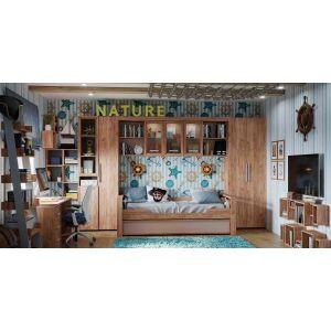 Купить Стеллаж ГМФ ГМФ-Natura 95 Стеллаж (Дуб табачный Craft/Мокко) цвет дуб табачный craft/мокко
