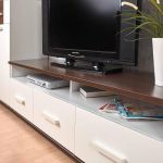 Тумба под телевизор ГМФ ТТВ3 Норвуд цвет белый/орех шоколадный