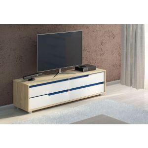 Купить Тумба под телевизор Комфорт-S М3 Винсент-5 цвет дуб ирландский/белый матовый/дуб глубинно-синий