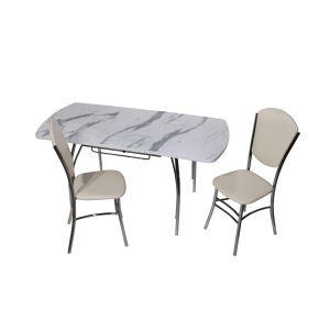 Купить Стол Эклат Чайка 1100*700*400 премьер цвет мрамор белый