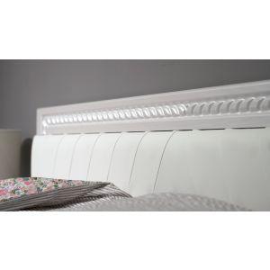 Купить Кровать Комфорт-S М9 140*200 Экокожа с пуговицами без основания Гертруда цвет белый/белая лиственница/ясень жемчужный