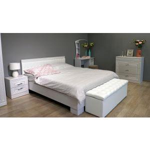 Купить Кровать Комфорт-S М8 160*200 Экокожа с пуговицами без основания Гертруда цвет белый/белая лиственница/ясень жемчужный