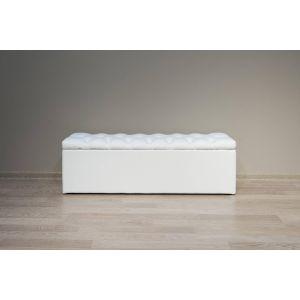 Купить Банкетка Комфорт-S М12 Гертруда с ящиком с пуговицами экокожа белый цвет экокожа белый
