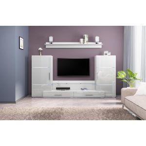 Купить Тумба под телевизор Браво ДОМИНО цвет белый/ белый глянец