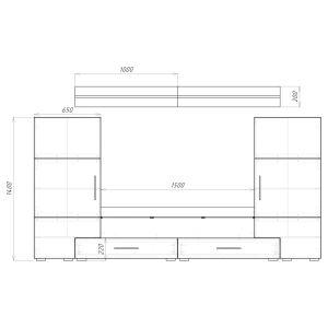 Купить Полка навесная Браво Домино (комплект 2 шт. по 1000 мм) цвет черный/ черный глянец